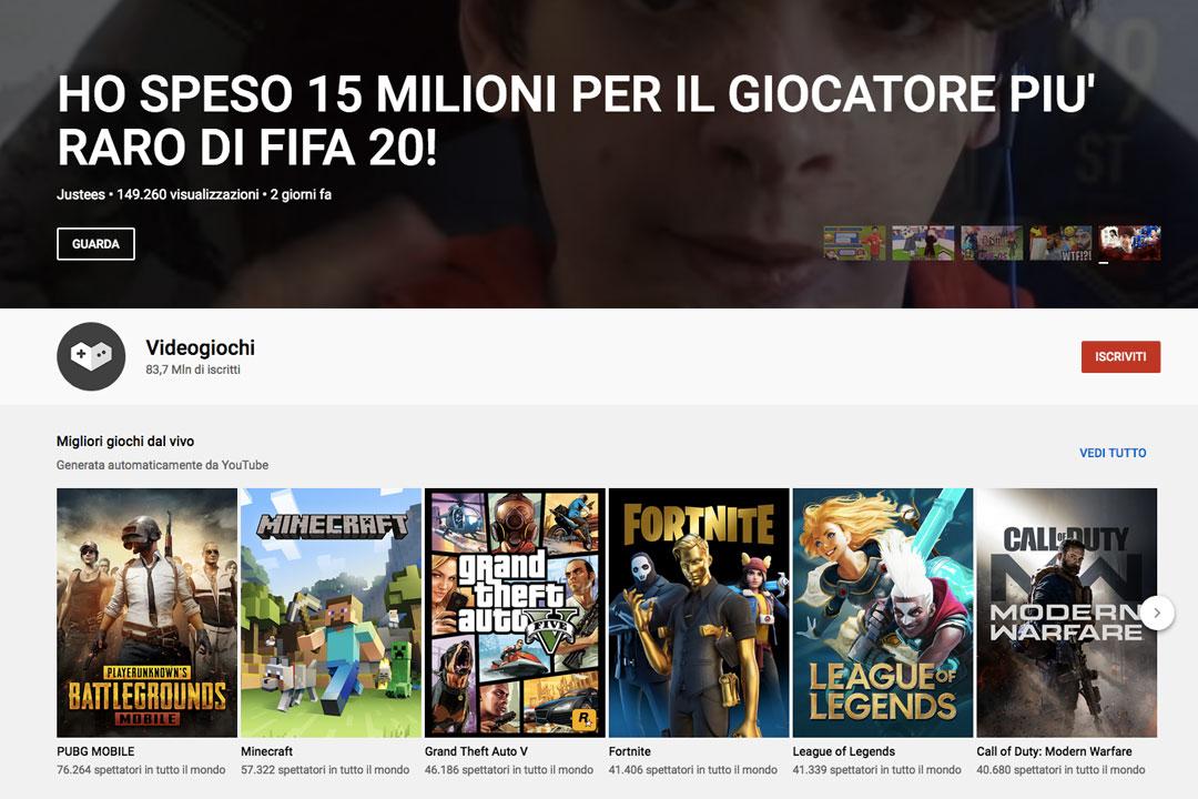 """Il canale """"Videogiochi"""" con 83,7 mil."""